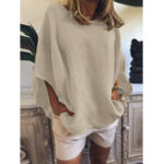 New Women Casual Loose Pure Color O-Neck Half Sleeve Blouse
