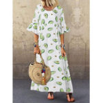 New Women Casual Avocado Printed O-Neck Flare Sleeve Dress