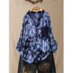 New Women Tie-dye Print Patchwork Long Sleeve Blouse