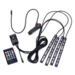 New 4Pcs 9LED Remote Control Colorful RGB Car Interior Floor Decorative Lights