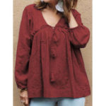 New Women Cotton Pure Color V-Neck Puff Sleeve Blouse