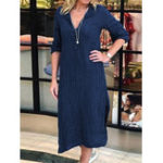New Women Pure Color Casual Front Pockets Long Sleeve Dress