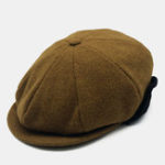 New Men Solid Color Warm Earmuffs Beret Hat Octagonal Cap