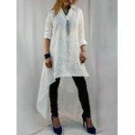 New Irregular Hem Solid Color Long Sleeve Casual Shirts