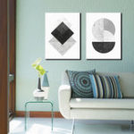 New Miico Hand Painted Combination Decorative Paintings Geometric Patterns Wall Art For Home Decoration