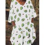 New Women Avocado Print V-Neck Side Pockets 3/4 Sleeve Dress
