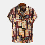 New Men Geometric Printed Retro Style Short Sleeve Casual Lapel