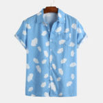 New Men Leaf Printed Fresh Style Summer Short Sleeve Lapel Shirt