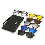 New 6 IN 1 Night Vision Retro Polarized Sunglasses Driving UV 400 Anti Glare Glasses