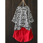 New Women Polka Dot Print O-Neck High Low 3/4 Sleeve Blouse