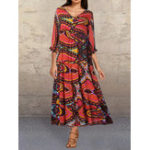 New Pleated Print Contrast color V-neck Pocket Maxi Dress