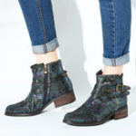 New Women Embossed Stitching Metal  Zipper  Ankle Boots