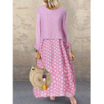 New Crew Neck Two-piece Set Polka Dot Splice Long Sleeve Dress