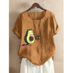 New Short Sleeve O-neck Cute Cartoon Print Button T-shirts