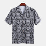 New Men Ethnic Pattern Print Short Sleeve Revere Shirts