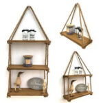 New 1/2/3Tier Wooden Wall Mounted Rope Floating Storage Shelf Kitchen Rack Hanging Shelves Holder