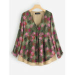 New Women Patchwork Two Pieces Print Long Sleeve Vintage Blouse