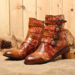 New Women Retro Genuine Leather Stitching  Zipper Boots