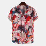 New Men Ancient Women Character Print Summer Short Sleeve Lapel
