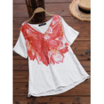 New Women Short Sleeve V-neck Printed Floral Blouse