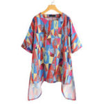 New Women Loose Geometric Printed O-Neck Short Sleeve Blouse