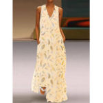 New Sleeveless Feather Printed V-neck Side Pockets Maxi Dress
