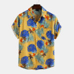 New Men Leaf Printed Hawaiian Style Casual Short Sleeve Lapel