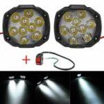 New 2pcs 4/6/9 LED 9-85V 10W Black Motorcycle Headlights Motorbike Driving Fog Spot Ligh+ Switch
