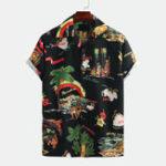 New Men Creative Island Character Printed Short SleeveShirts