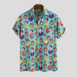 New Mens Casual Character Printing Short Sleeve Summer Shirts