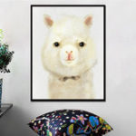 New Miico Hand Painted Oil Paintings Cartoon Alpaca Paintings Wall Art For Home Decoration