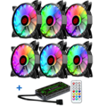 New Coolmoon 6PCS Adjustable RGB LED Light Computer Case PC Cooling Fan With Remote