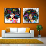 New Miico Hand Painted Combination Decorative Paintings Girl Portrait Wall Art For Home Decoration