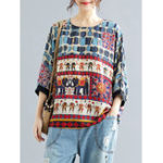 New Vintage Women Folk Style Print O-Neck 3/4 Sleeve T-Shirts