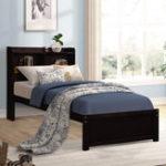 New Bookcase Platform Double Bed Frame Mattress Foundation with Storage Headboard Platform Storage Bed Bedroom Furniture