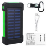 New 5000Mah Portable Solar Power Bank Dual USB Efficient Charger with LED Lamp Compass Climbing Hook