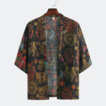 New Men Retro Printed Ethnic Style Half Sleeve Open Casual