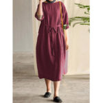New Women Cotton 3/4 Sleeve O Neck Dress