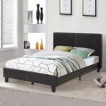 New Faux Leather Upholstered Platform Double Bed Frame Mattress Foundation Wood Slat Support