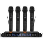 New Professional UHF 4 Channel 2 Channel Wireless Handheld Microphone System Mic for Stage Church Family Party Karaoke Meeting