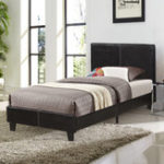 New Faux Leather Upholstered Platform Double Bed Frame Wood Slat Support