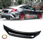 New Highkick Duckbill Trunk Car Wing Glossy Black Spoiler For 16-19 Honda Civic Sedan V3