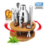 New 9Pcs Cocktail Stainless Steel Shaker Set Cocktail Edelstahl Bar Set Mixer Silber
