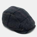 New Man Cotton Plaid Striped Beret Warm Hat