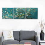 New Miico Hand Painted Three Combination Decorative Paintings Botanic Flower Wall Art For Home Decoration