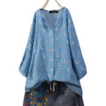 New Women 3/4 Sleeve Button Print Casual Blouse