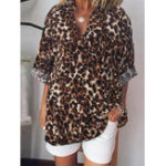 New Women Casual Loose Leopard Print V-Neck Long Sleeve Blouse