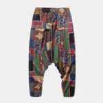 New Men Splicing Color Block Ethnic Style Casual Hanging Pants