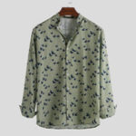 New Mens Bird Printing Long Sleeve Autumn Relaxed Shirts