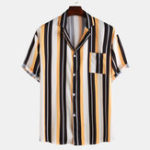 New Men Stripe Printed Chest Pocket Short Sleeve Revere Collar